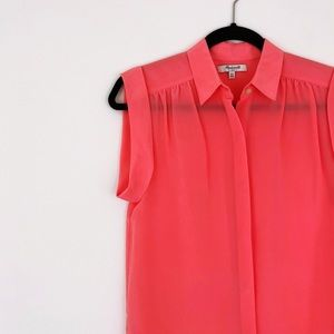 MADEWELL Silk Roll Sleeve Button up Top Coral XS